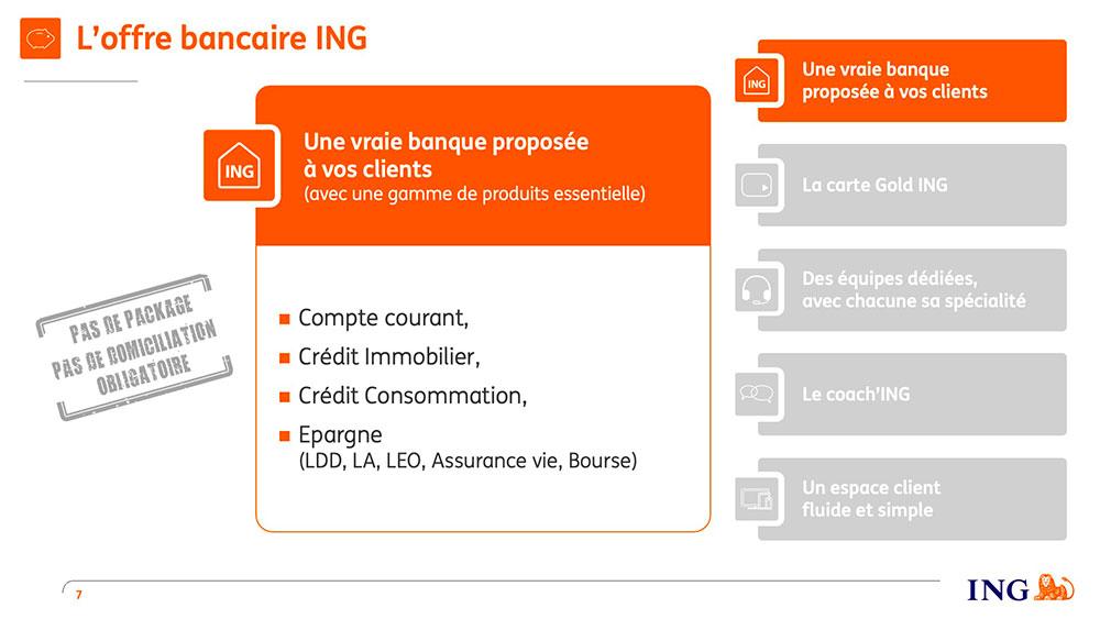 Exemple de réalisation de slide Powerpoint pour ING